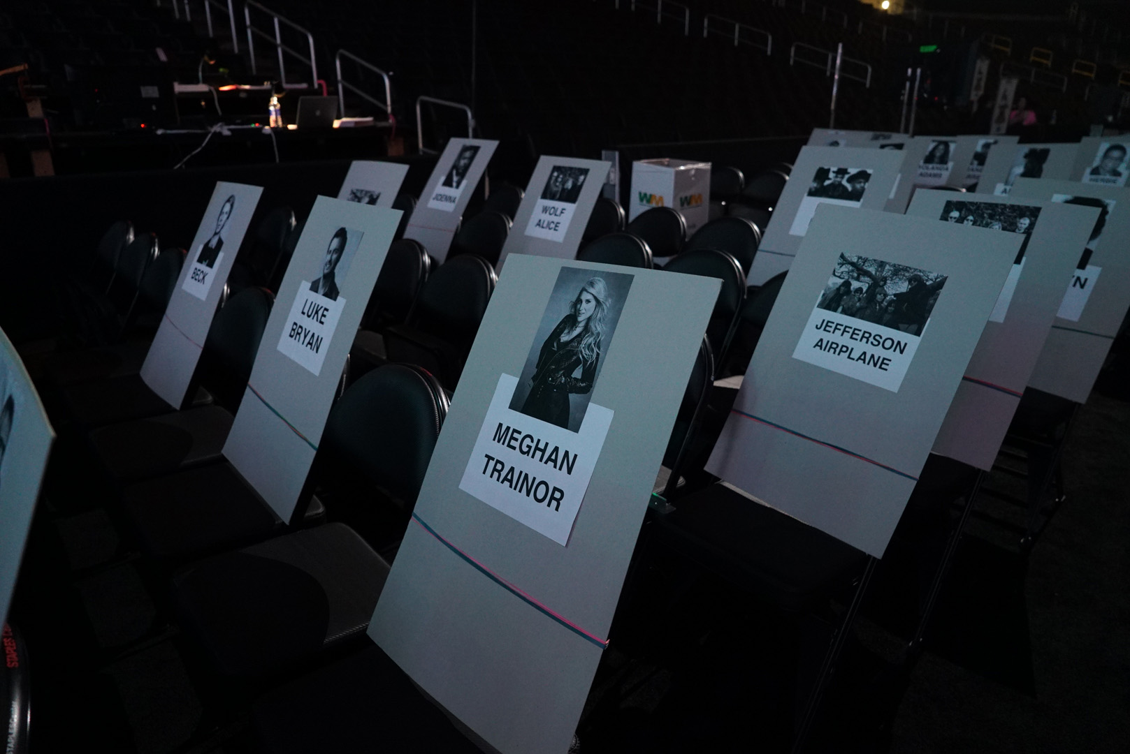 Meghan Trainor and Jefferson Airplane's seats are marked for the big night.