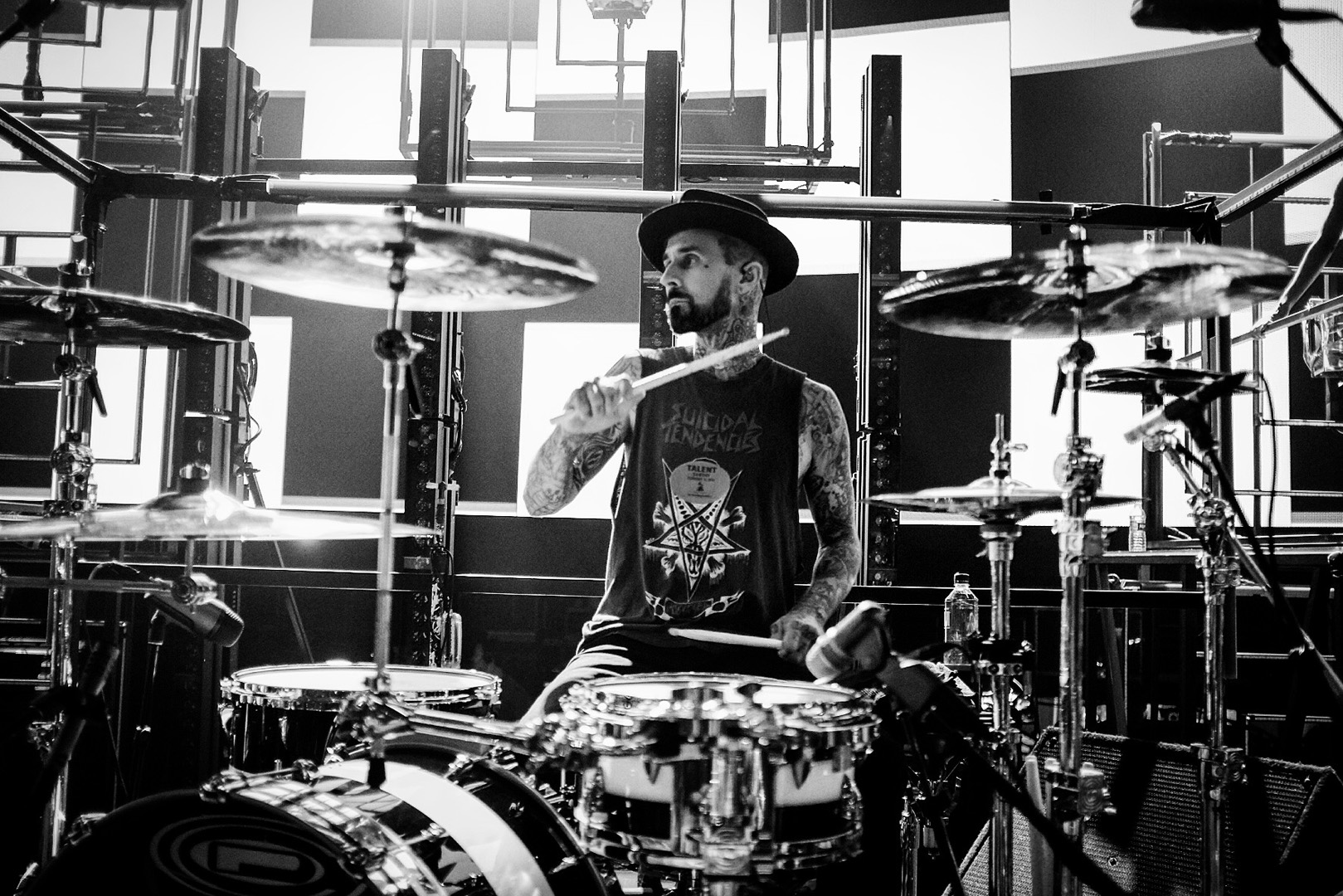Travis Barker rips on the drums during rehearsals.