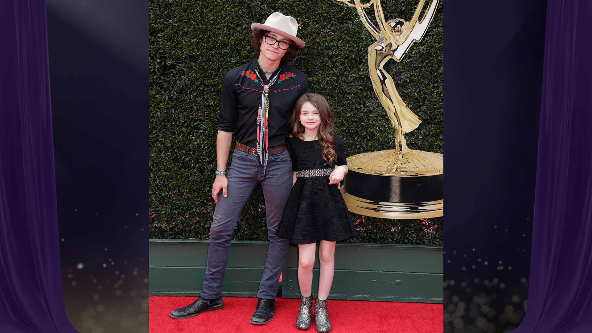 Standing alongside his little sister, Y&R star Tristan Lake Leabu, who's nominated for Outstanding Younger Actor in a Drama Series, brings a little country-music swag to the Daytime Emmy Awards red carpet.