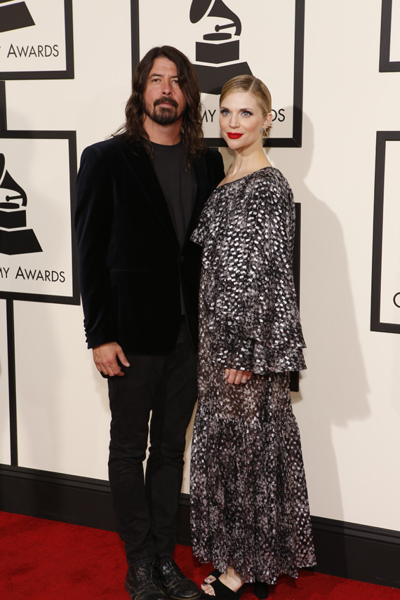 GRAMMYs 2016: David Grohl with his wife Jordyn Blum