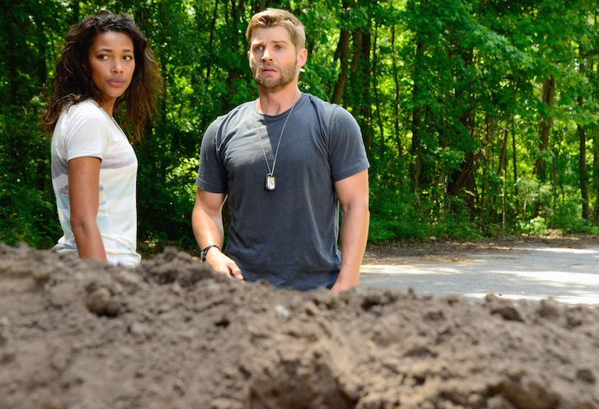 Kylie Bunbury as Eva and Mike Vogel as Dale