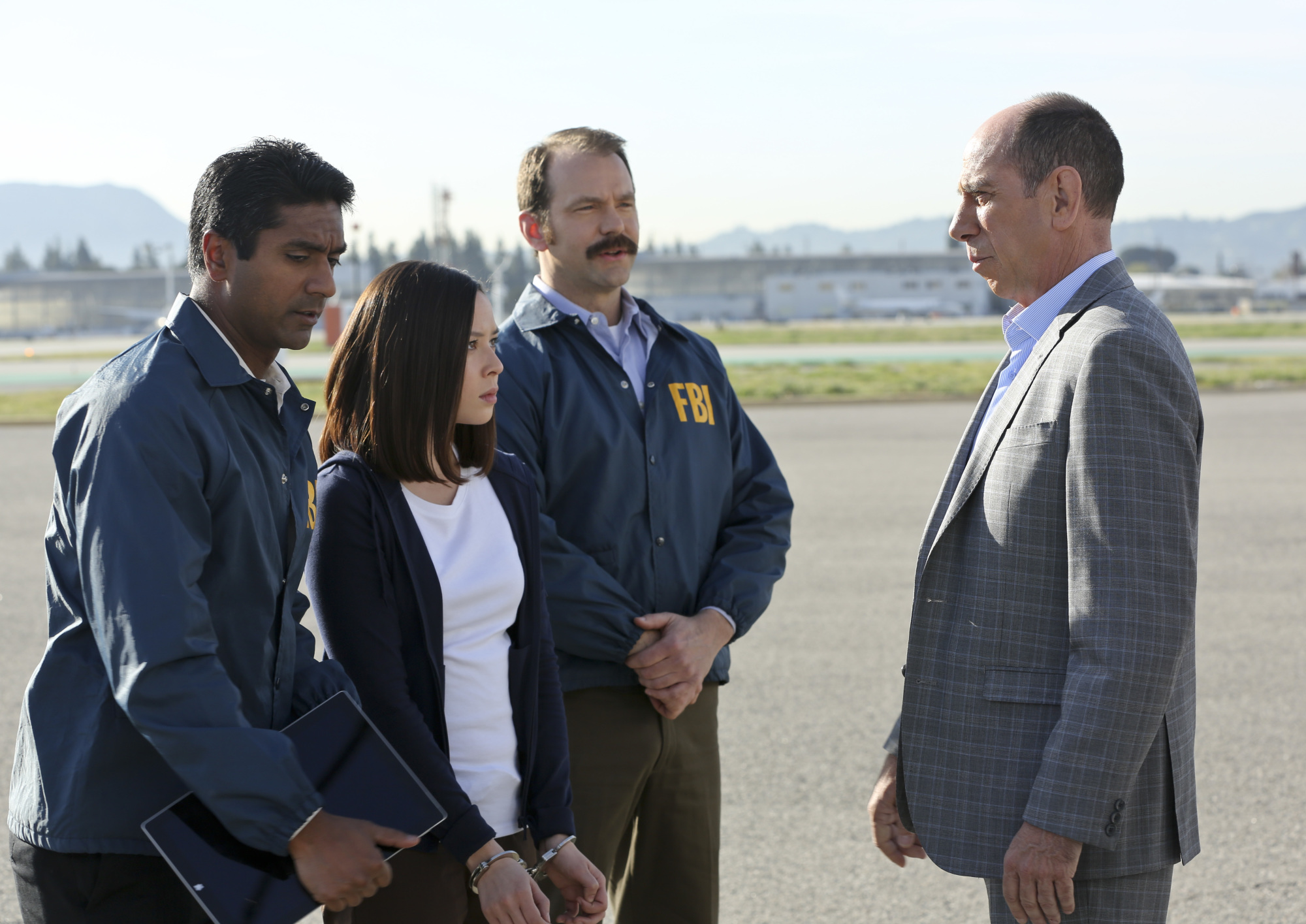 Malese Jow as Jennifer Kim and Miguel Ferrer as NCIS Assistant Director Owen Granger