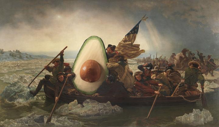 Washington Crossing the Delaware with Avocado, Emanuel Leutze, 1851