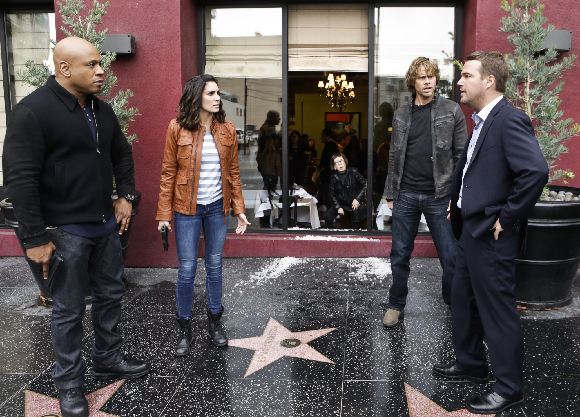 LL COOL J as Special Agent Sam Hanna, Daniela Ruah as Special Agent Kensi Blye, Eric Christian Olsen as LAPD Liaison Marty Deeks, and Chris O'Donnell as Special Agent G. Callen