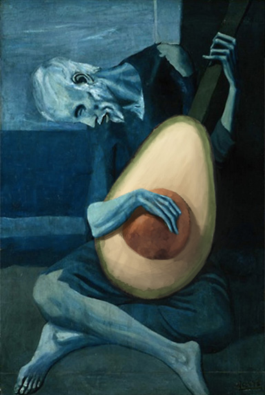 The Old Guitarist with Avocado, Pablo Picasso, 1903