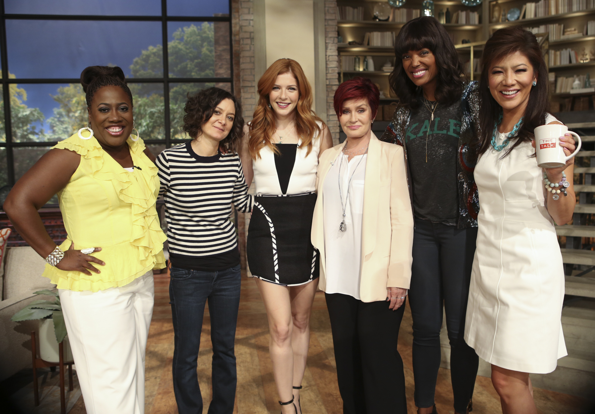 Rachelle Lefevre with the ladies of The Talk