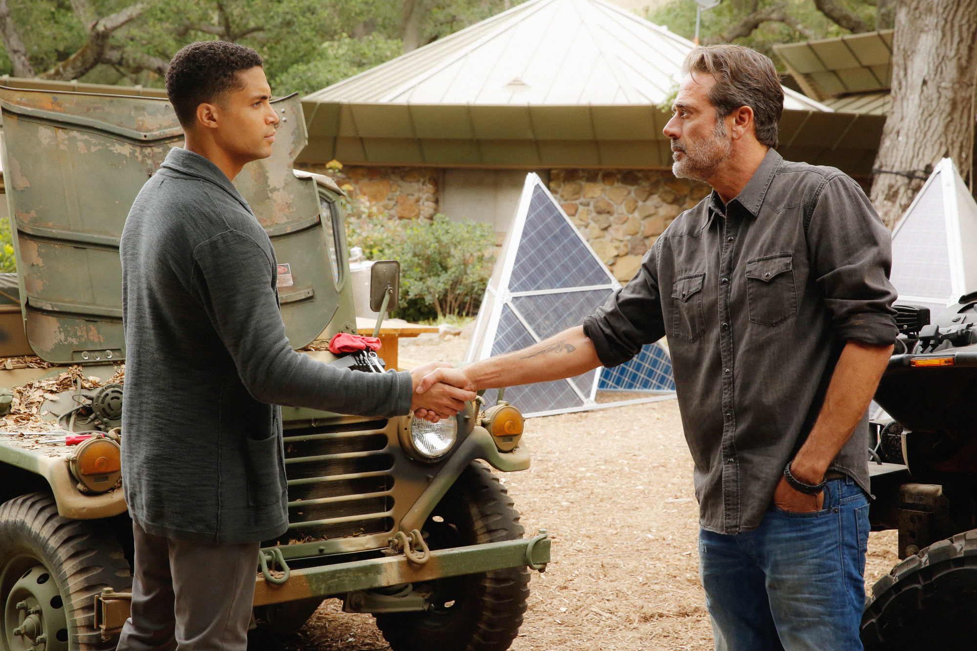 Henderson Wade as Adhu and Jeffrey Dean Morgan as JD Richter.