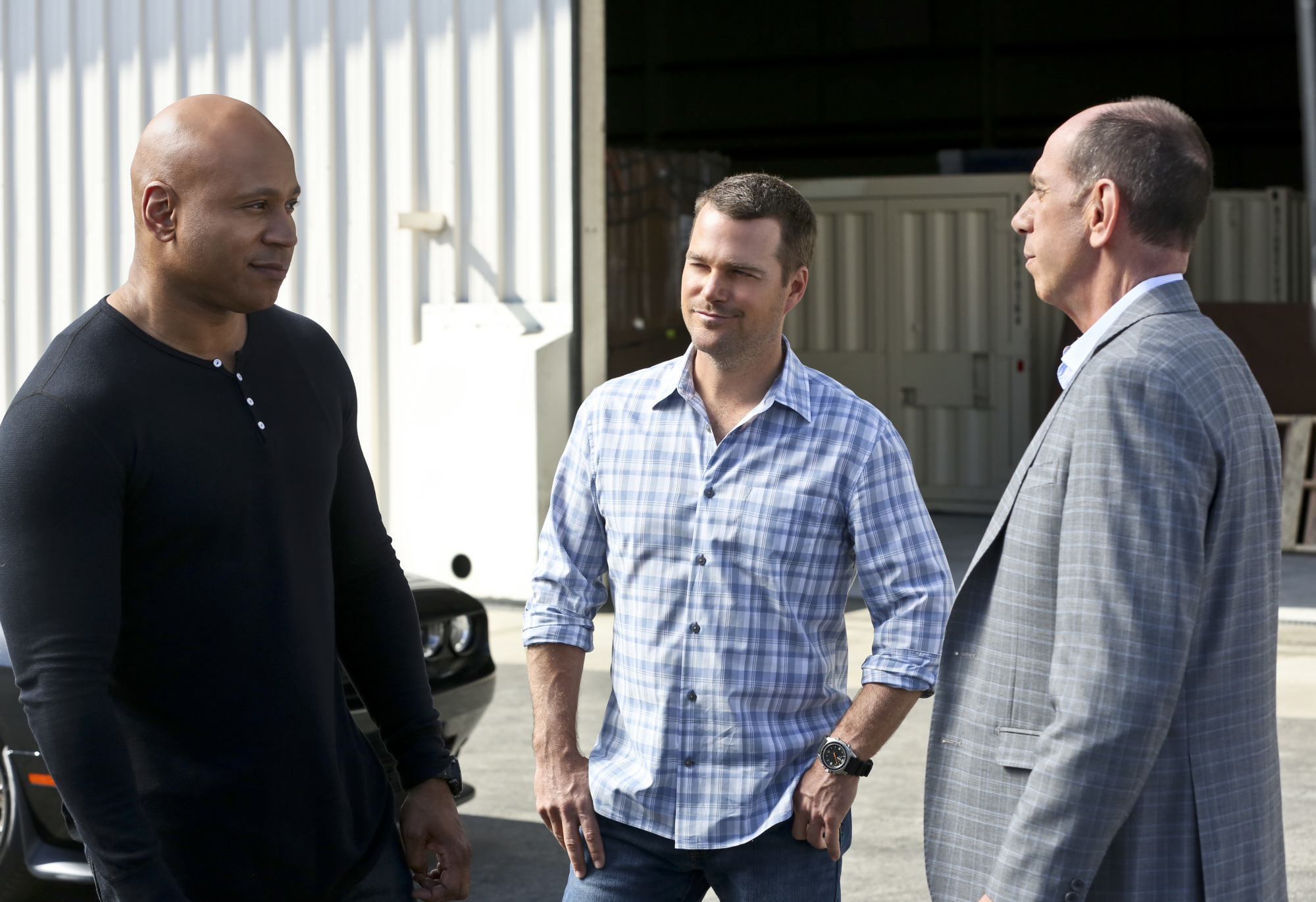 LL COOL J as Special Agent Sam Hanna, Chris O'Donnell as Special Agent G. Callen, and Miguel Ferrer as NCIS Assistant Director Owen Granger