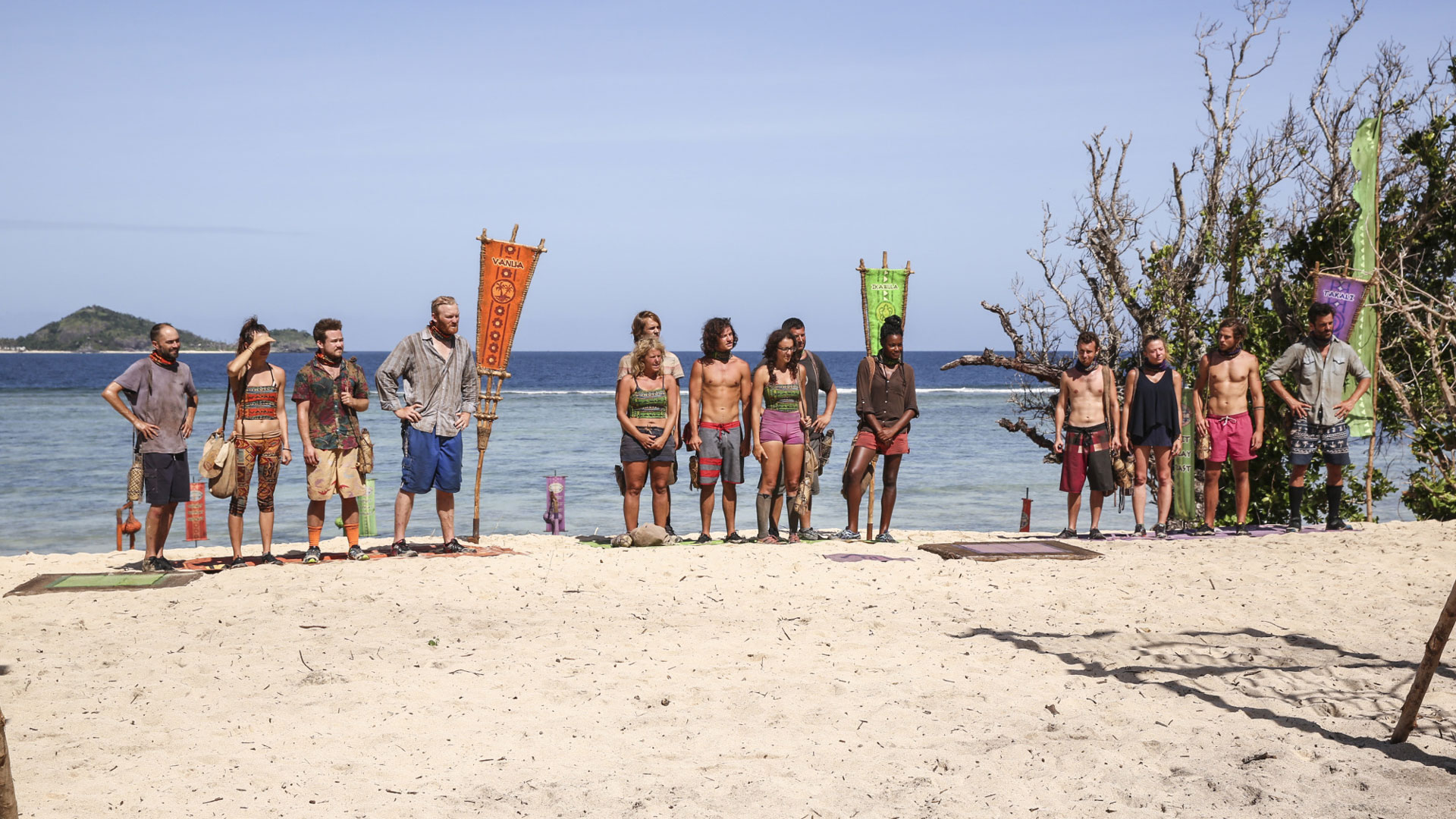 The Vanua, Ikabula, and Takali Tribes get ready to compete in the next Reward Challenge.