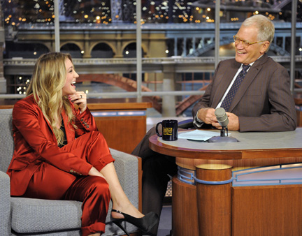 Kaley Cuoco with David Letterman