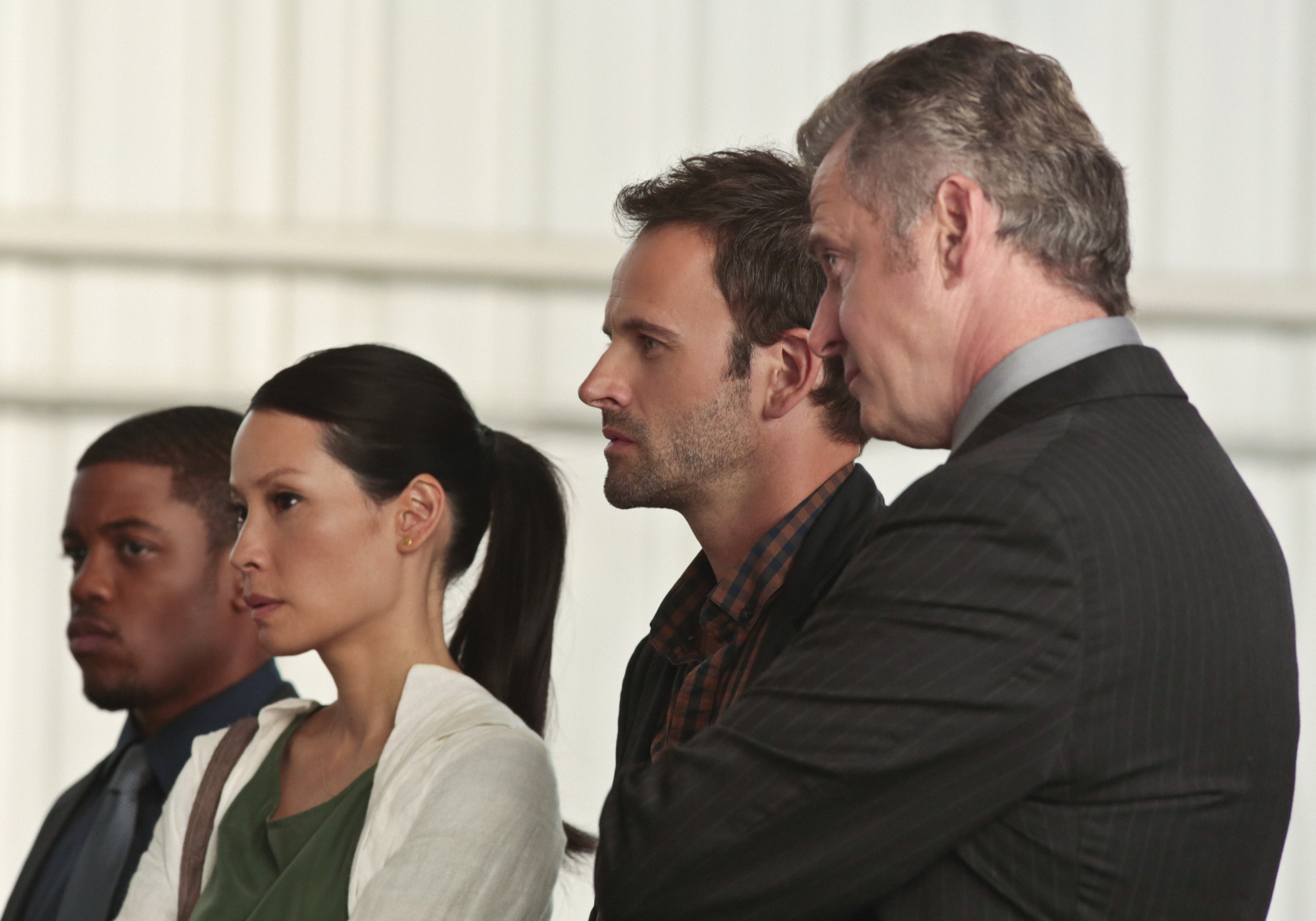 Detective Bell, Joan, Sherlock and Gregson