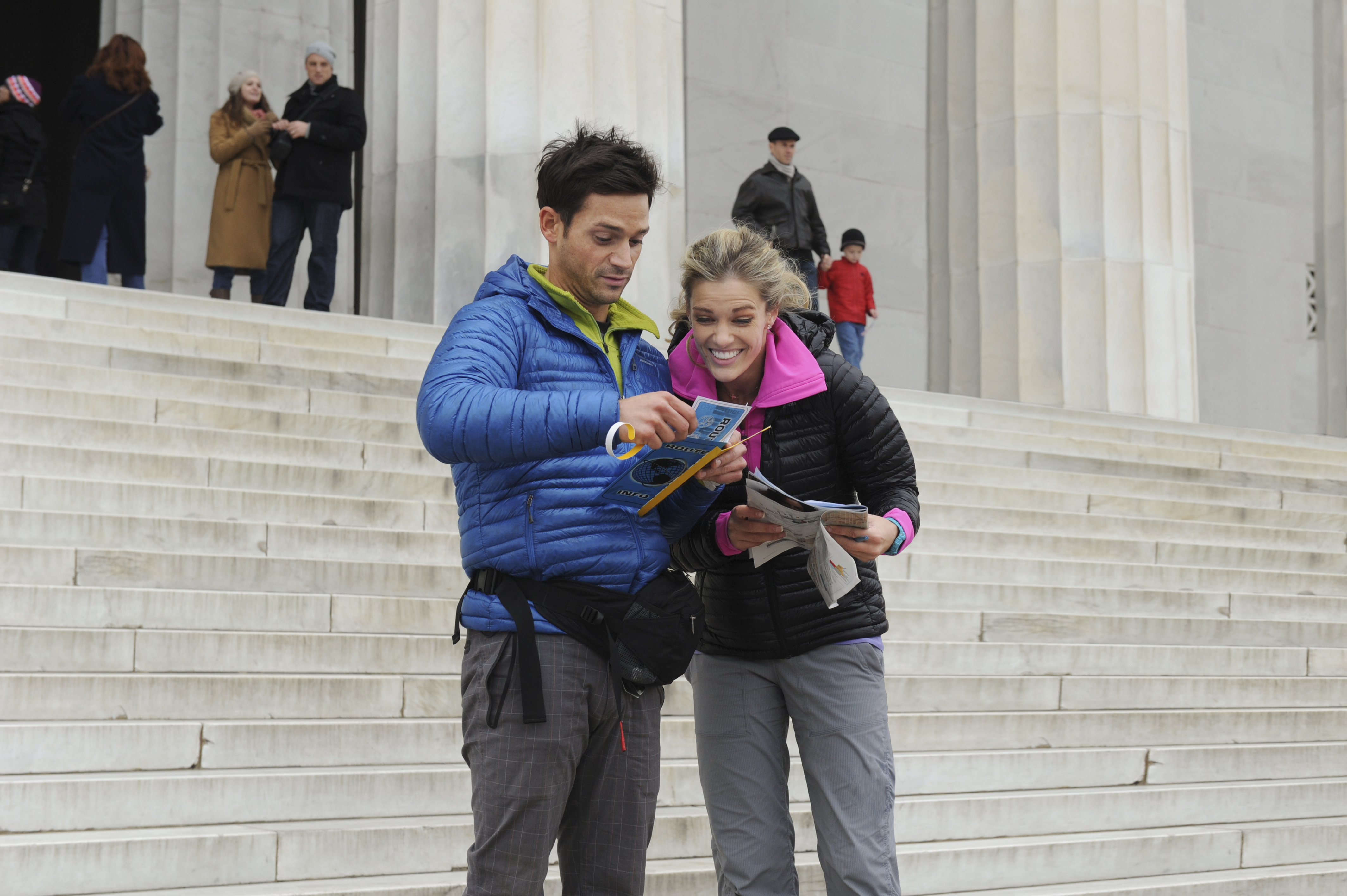 Steps at the Lincoln Memorial in the season finale of The Amazing Race