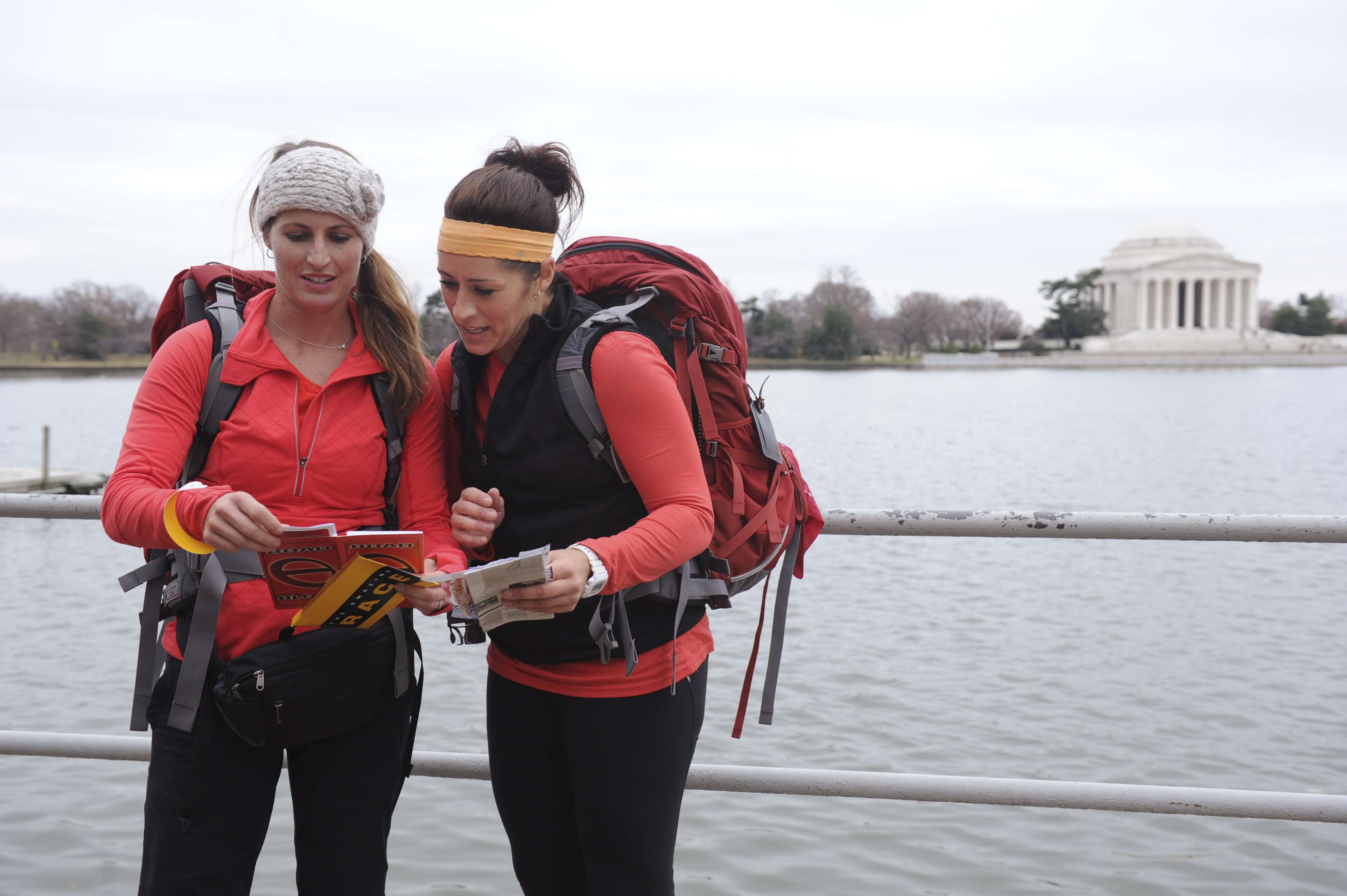 Reading a clue in the season finale of The Amazing Race