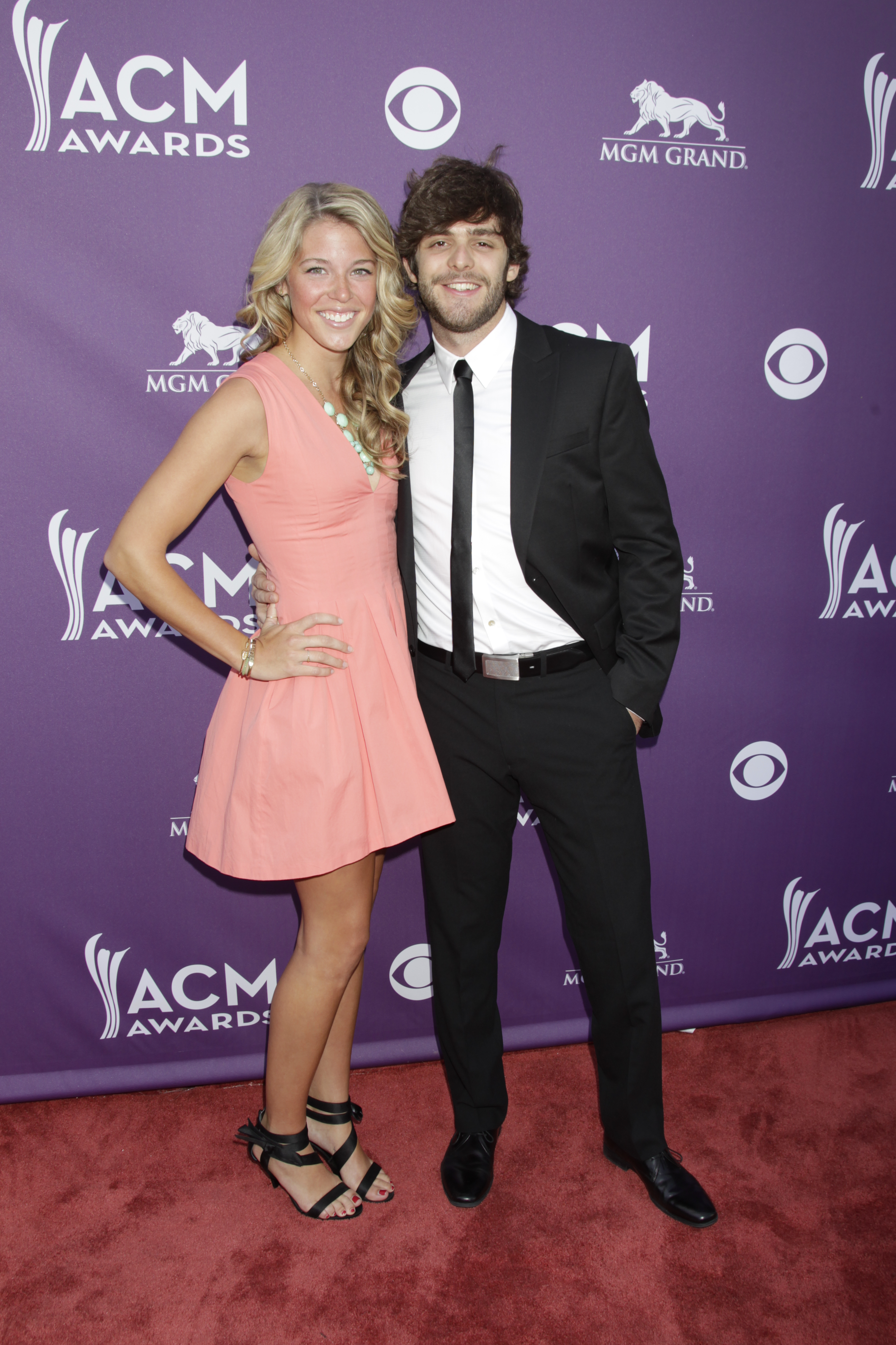 Lauren Akins and musician Thomas Rhett - 48th ACM Awards