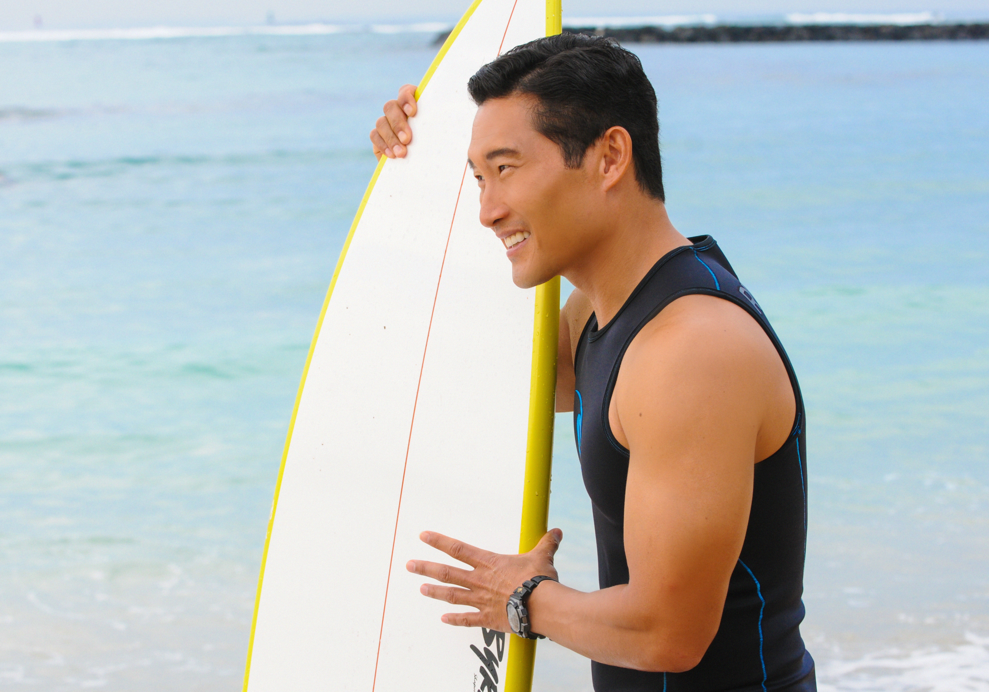 Chin Ho on the Beach in Season 4 Episode 13