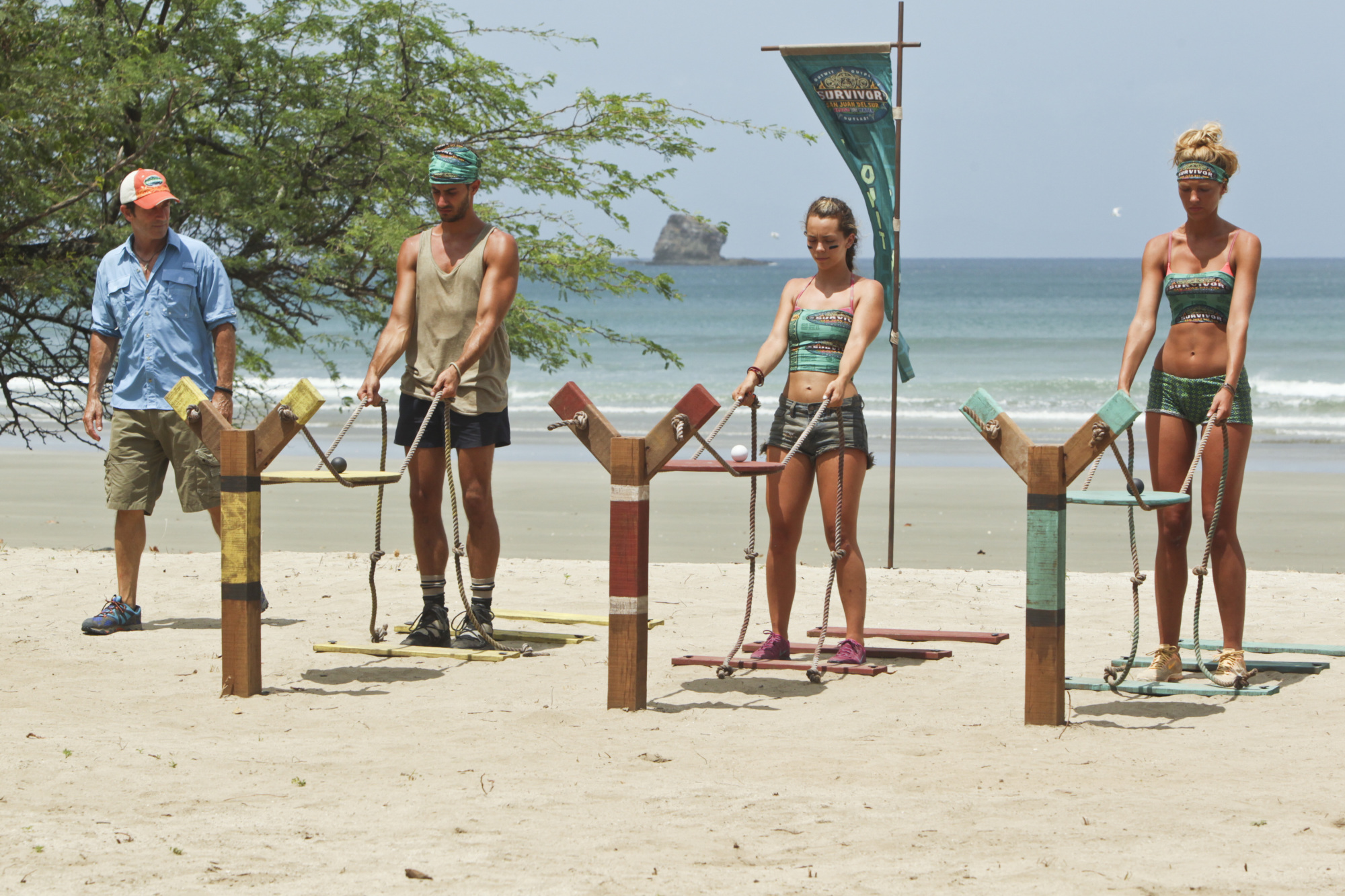 Jeff watches as castaways compete