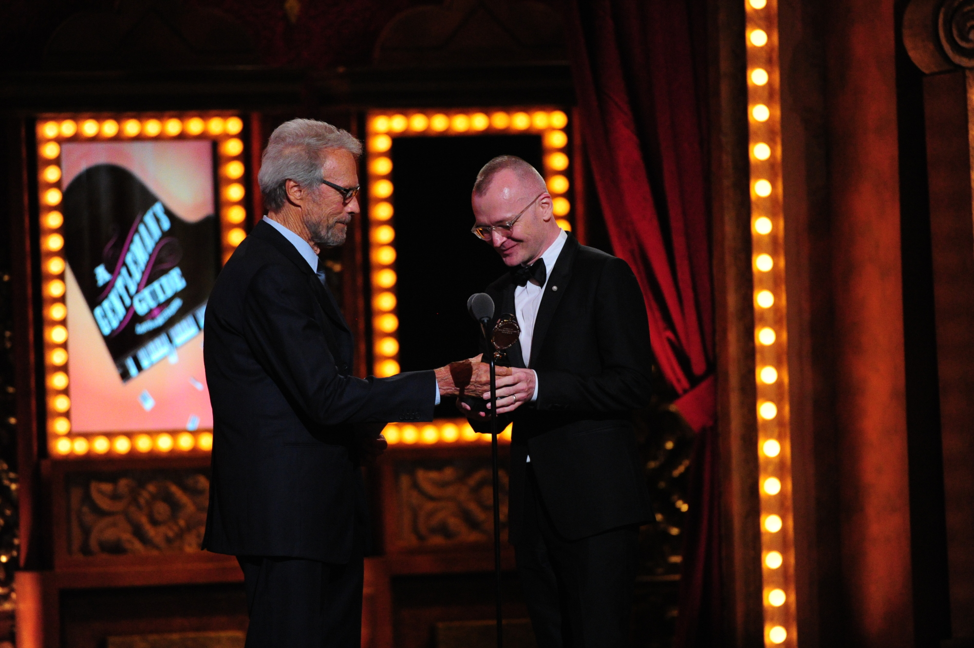 Clint Eastwood and winner Best Direction of a Musical Darko Tresnjak for A Gentleman's Guide to Love and Murder - 2014 Tony Awards