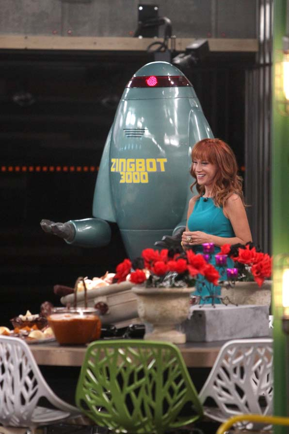 Zingbot and Kathy enter the house