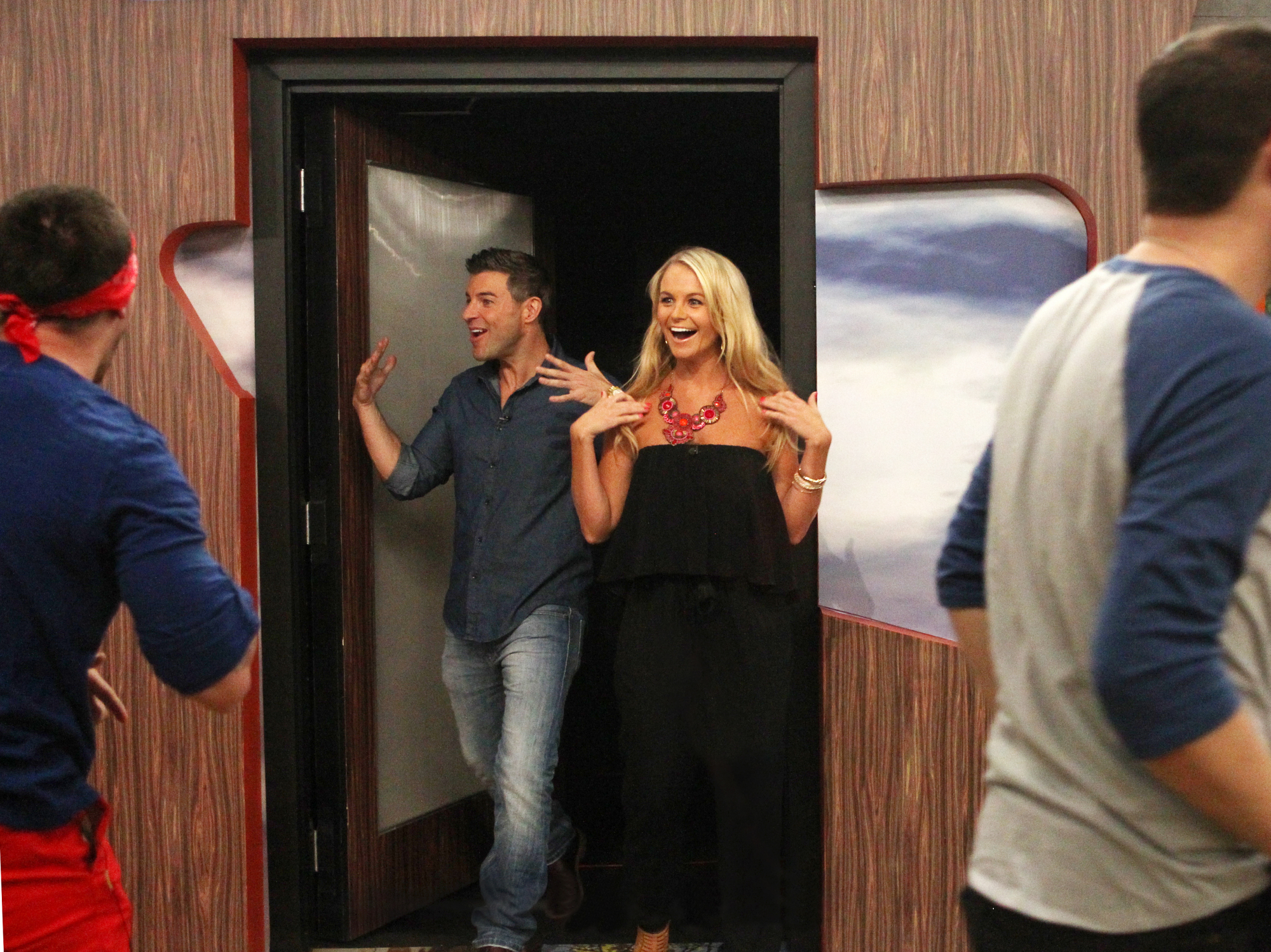 Jeff and Jordan enter the Big Brother house