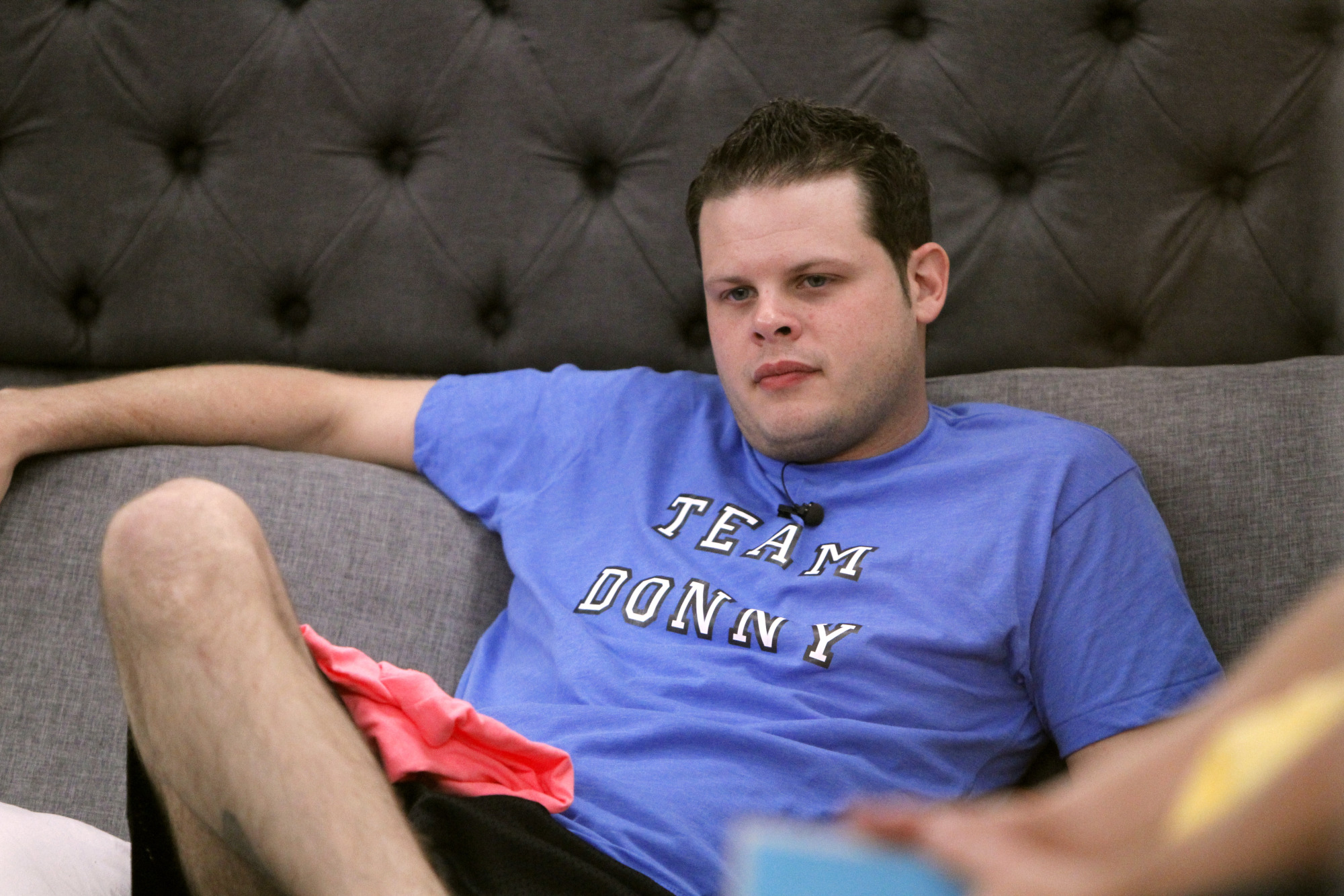 Derrick watches from the HoH room
