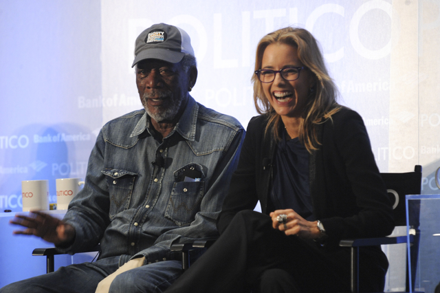 Morgan Freeman and Téa Leoni at the Politico Playbook Luncheon