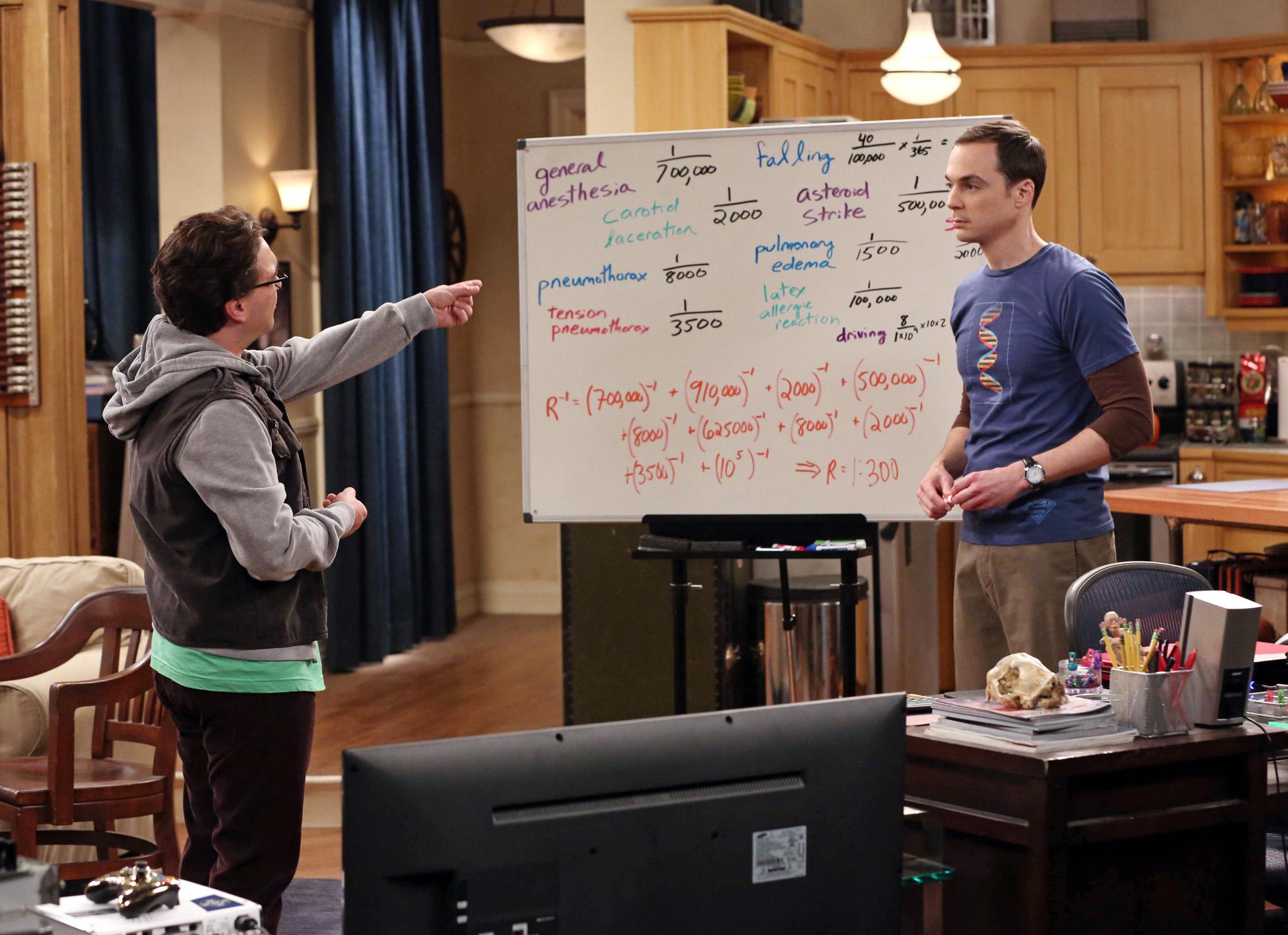 Sheldon tries to show Leonard the odds