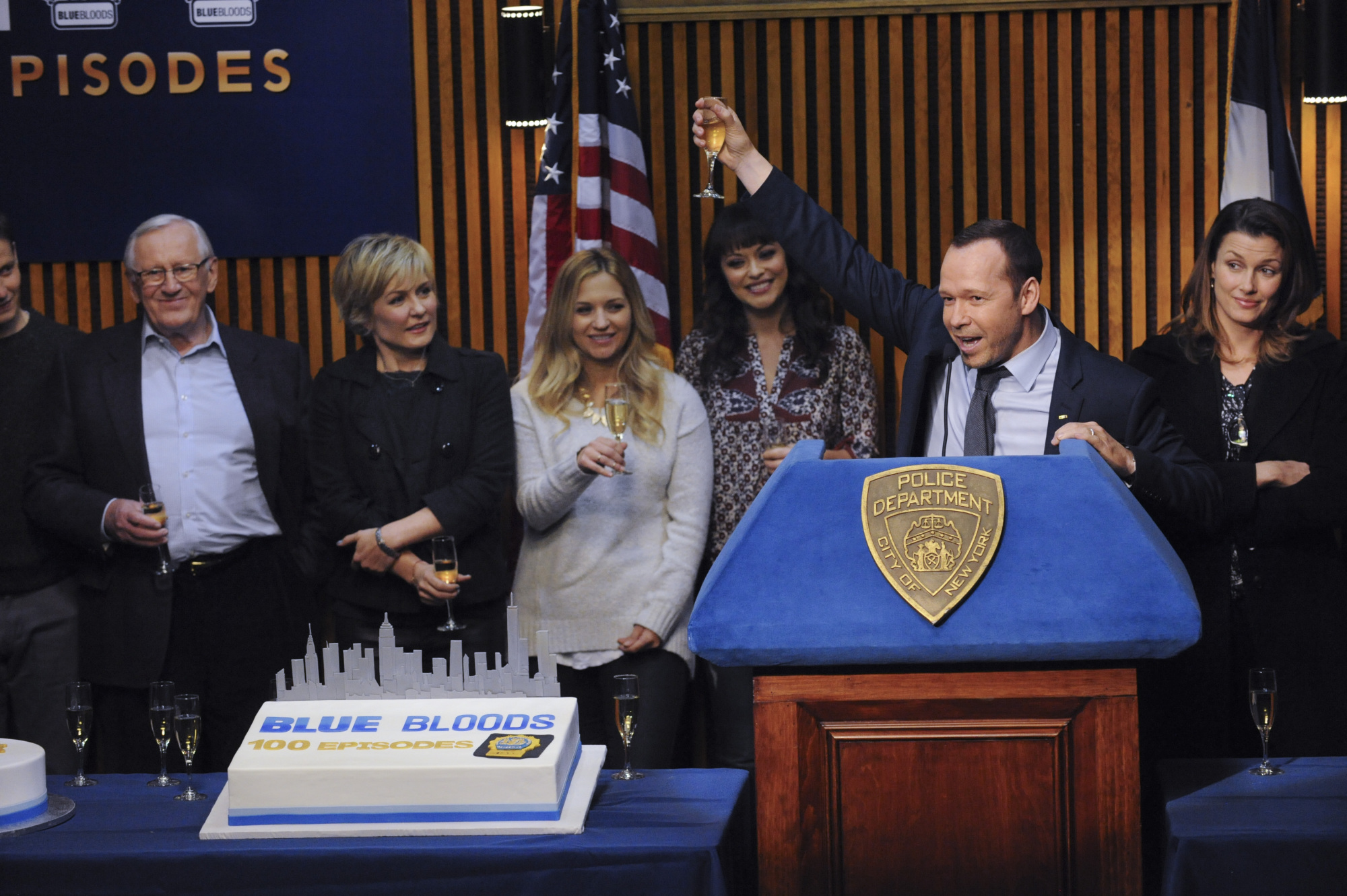 Donnie Wahlberg Cheers at the 100th Episode Celebration of Blue Bloods