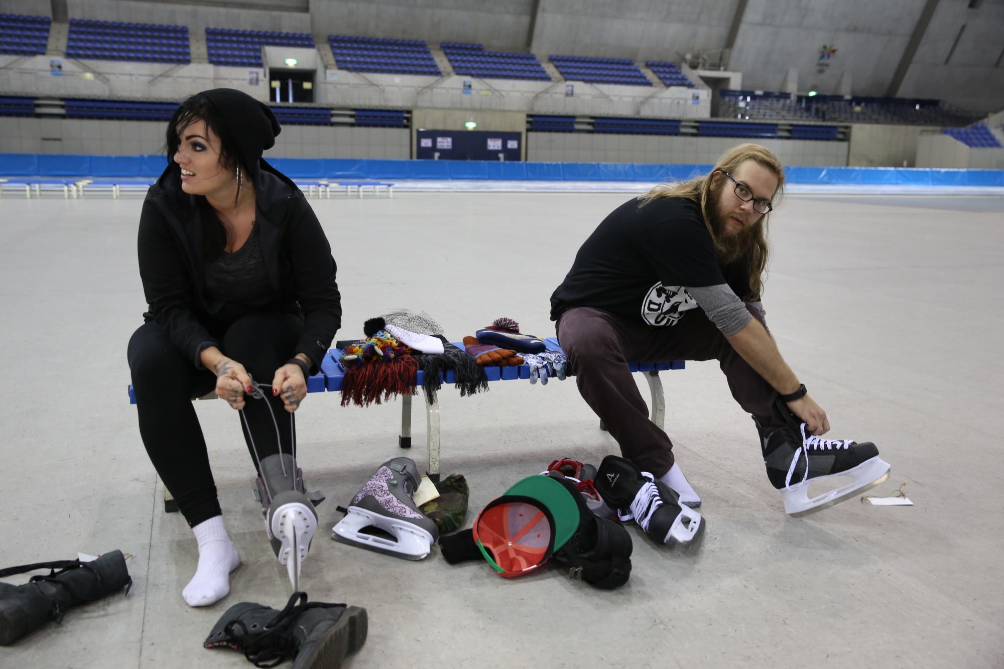 Lacing up their skates