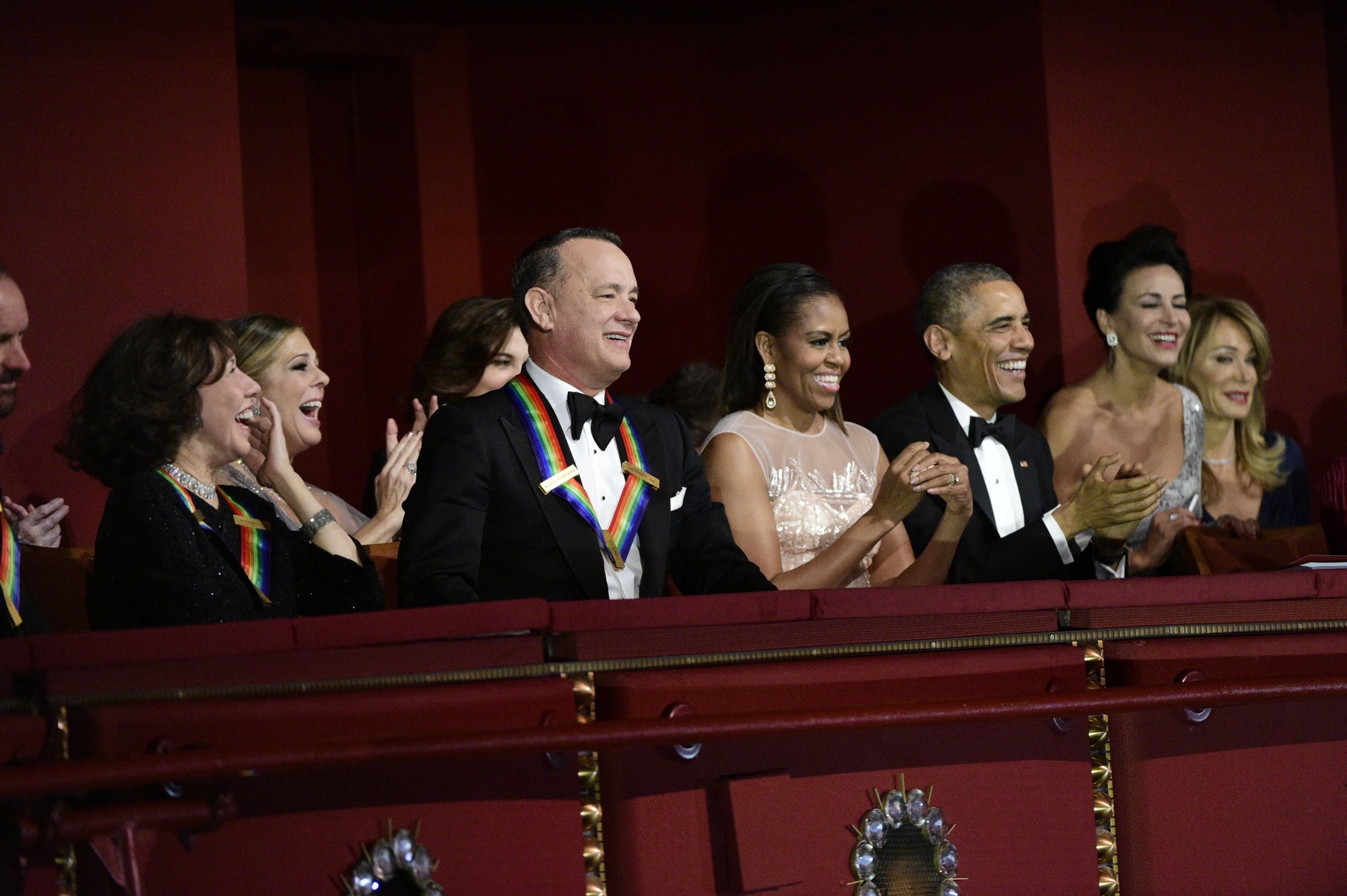 Lily Tomlin, Rita Wilson, Tom Hanks, First Lady Michelle Obama, and President Barack Obama