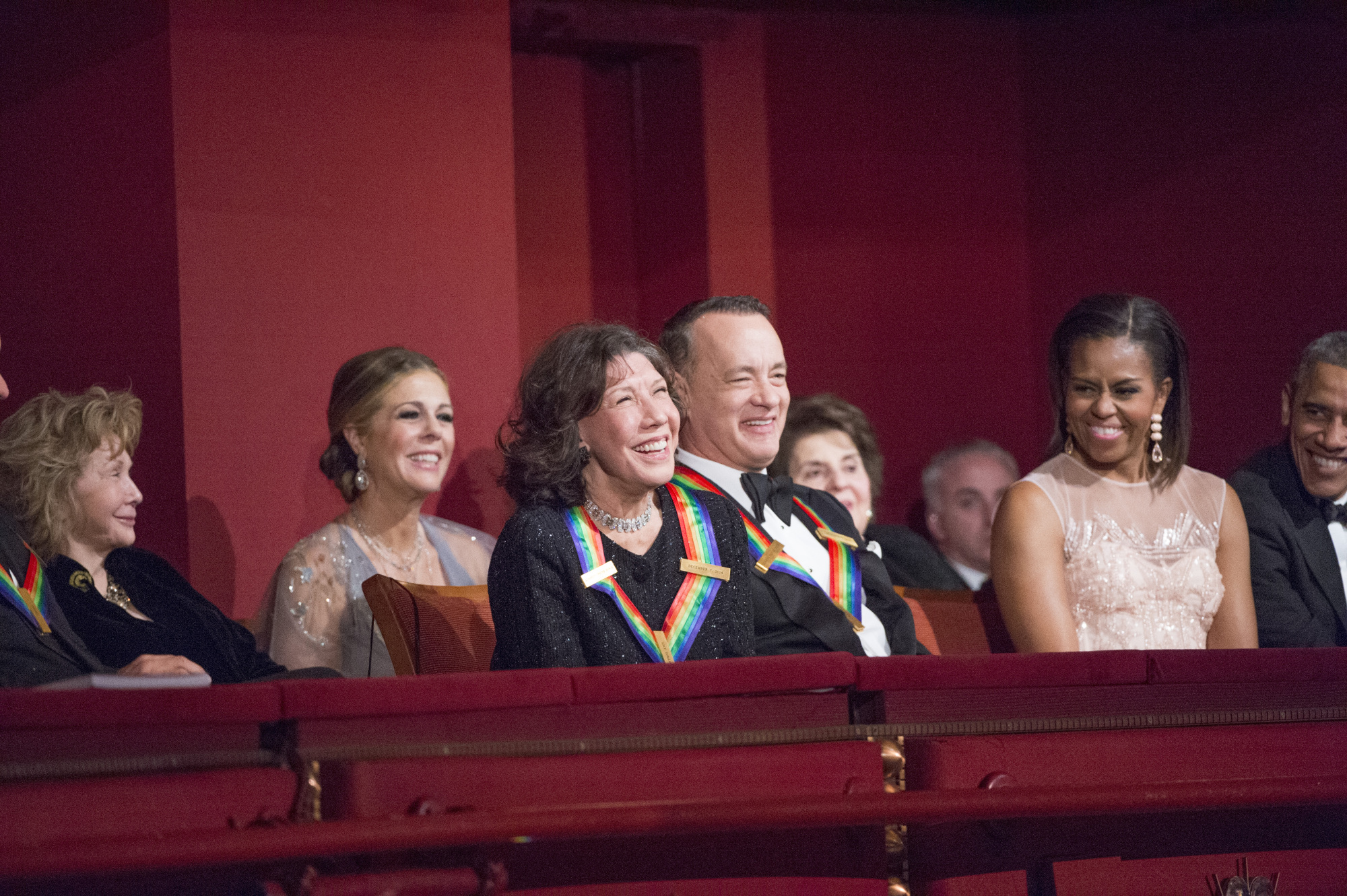 Jane Wagner, Rita Wilson, Lily Tomlin, Tom Hanks, First Lady Michelle Obama, and President Barack Obama