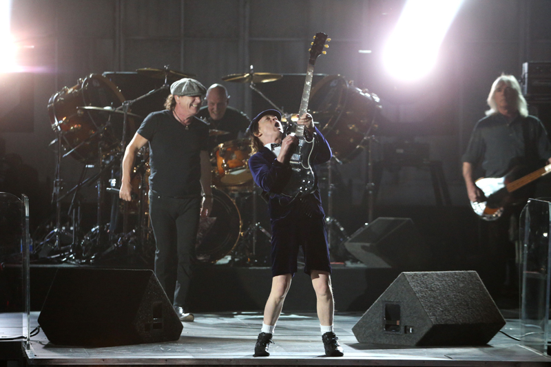 AC/DC performs during The 57th Annual Grammy Awards