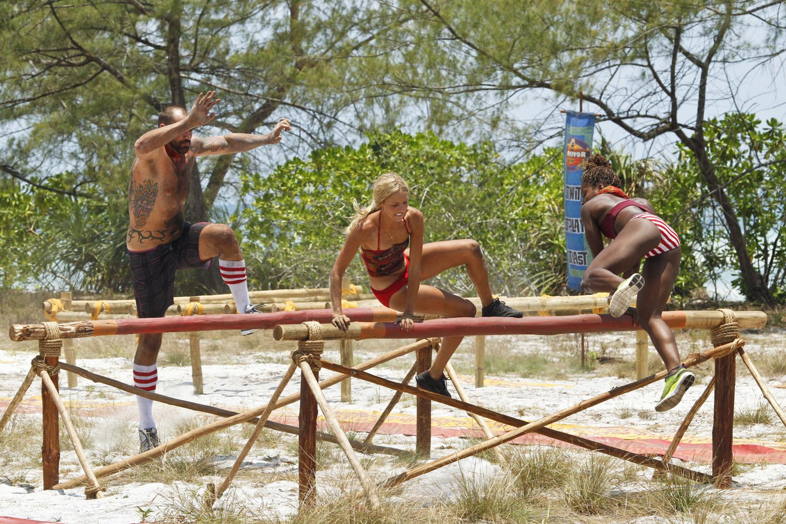 Brawn Tribe memebers Scot, Alecia, and Cydney take a big leap.