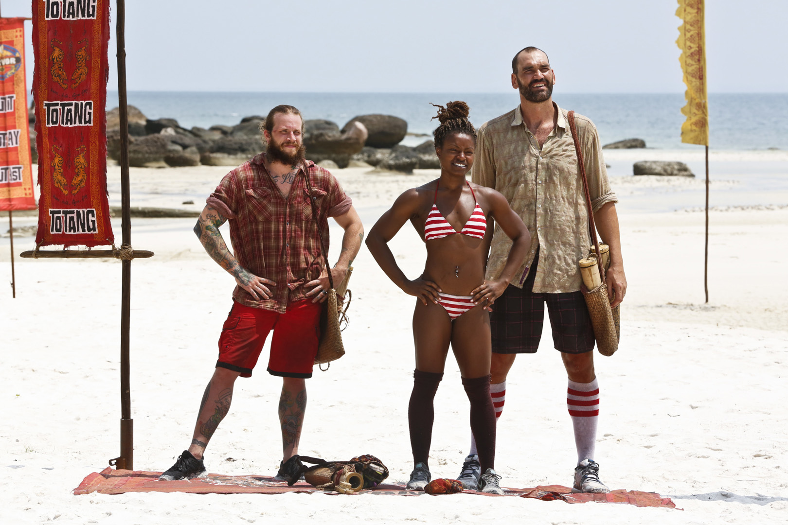 Jason, Cydney, and Scot stand as the final three Brawn Tribe members.