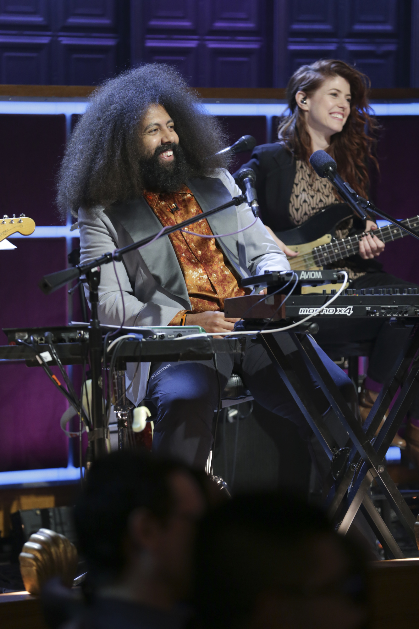 Reggie Watts has a laugh during the show.