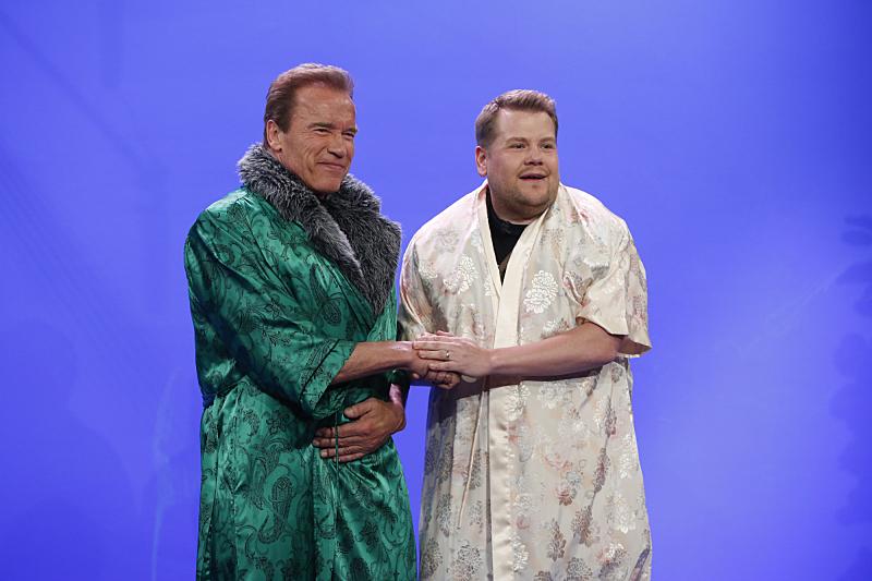 Arnold Schwarzenegger looks great in a fancy robe.