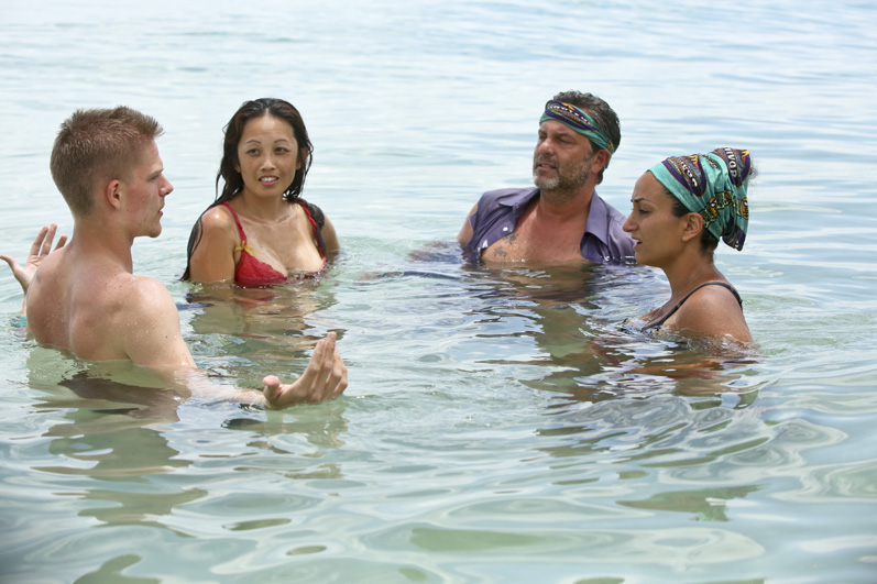 Spencer, Peih-Gee, Jeff, and Shirin cool off in the water