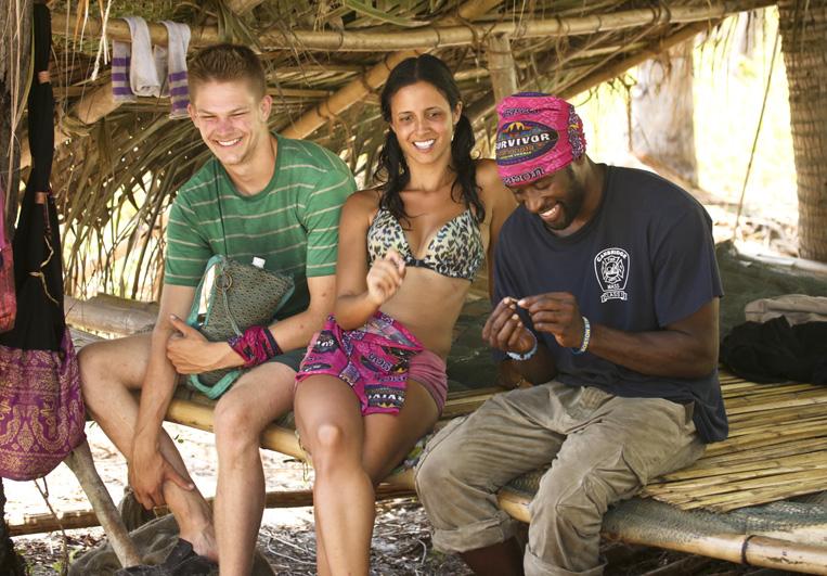 Spencer, Monica, and Jeremy kick back at camp