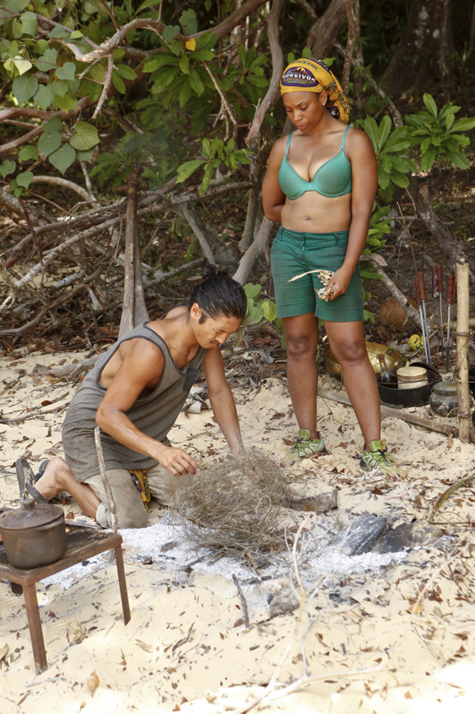 Woo and Tasha try to build a fire
