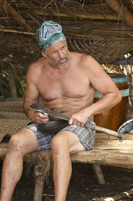 Terry Deitz does some work around camp.