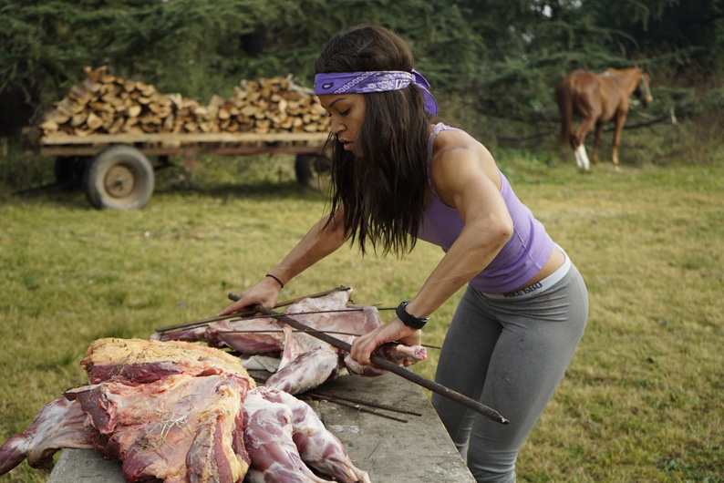 Danielle learns how to properly prepare meat in Argentina.