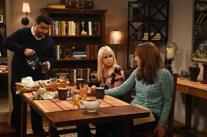 Gregory (David Krumholtz) pours some coffee as Bonnie and Christy chit chat.