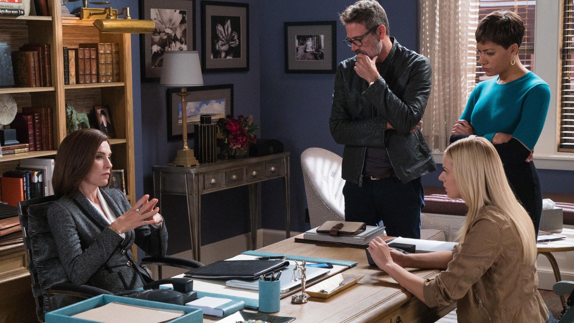 Julianna Margulies as Alicia Florrick, Jeffrey Dean Morgan as Jason Crouse, and Cush Jumbo as Lucca Quinn