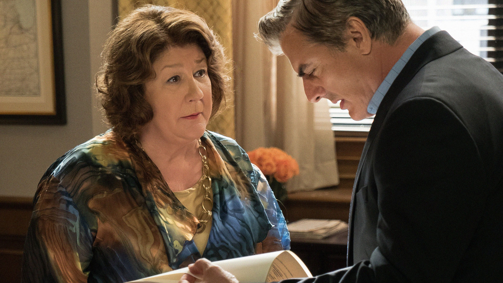 Margo Martindale as Ruth Eastman and Chris Noth as Peter Florrick