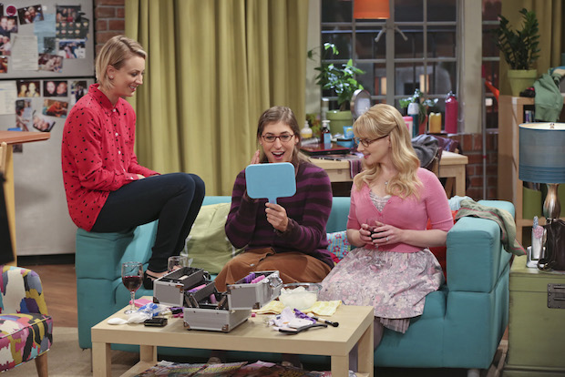 Amy tests out a new look with Penny and Bernadette