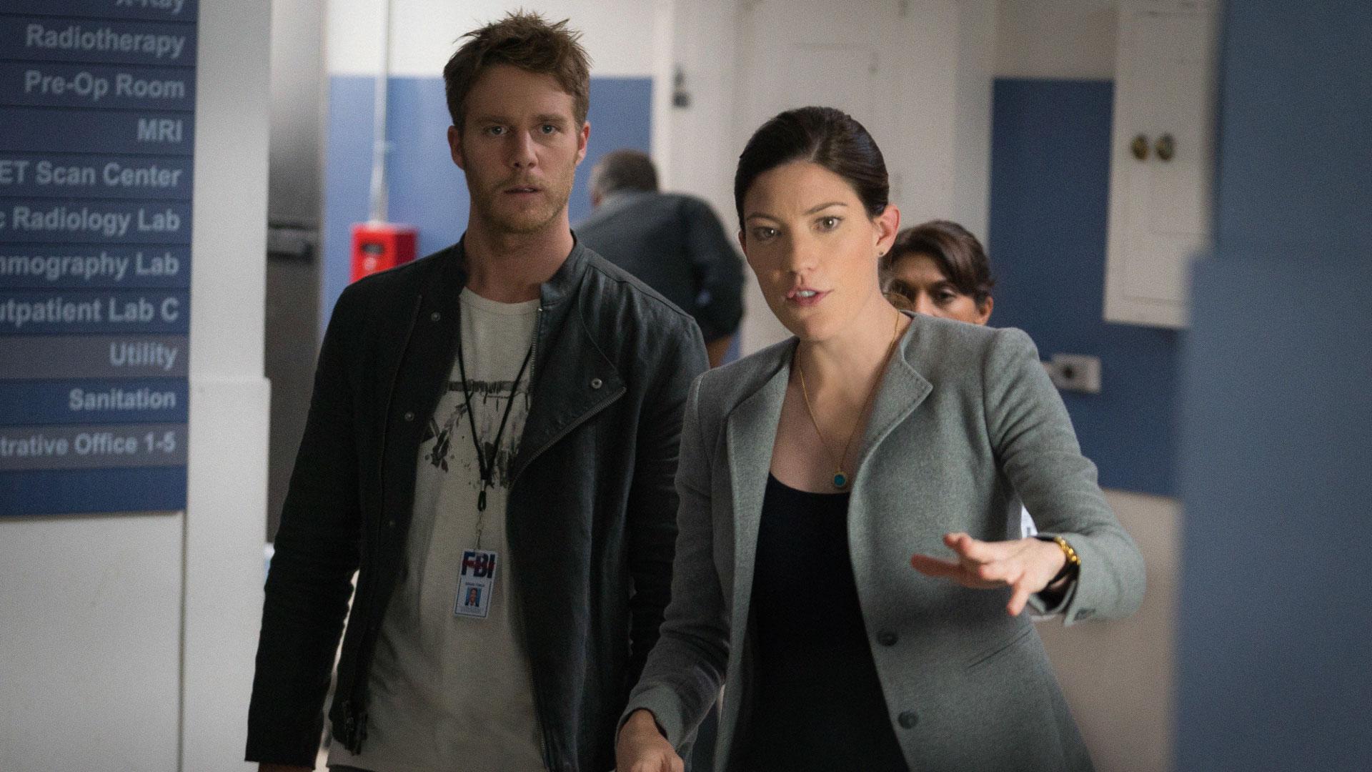 Jake McDorman as Brian Finch and Jennifer Carpenter as Agent Rebecca Harris
