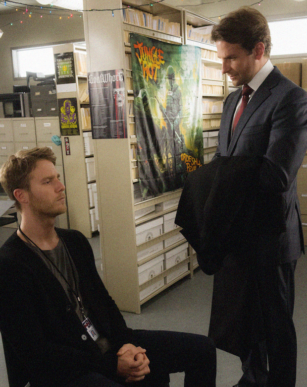 Jake McDorman as Brian Finch and Bradley Cooper as Senator Edward Morra