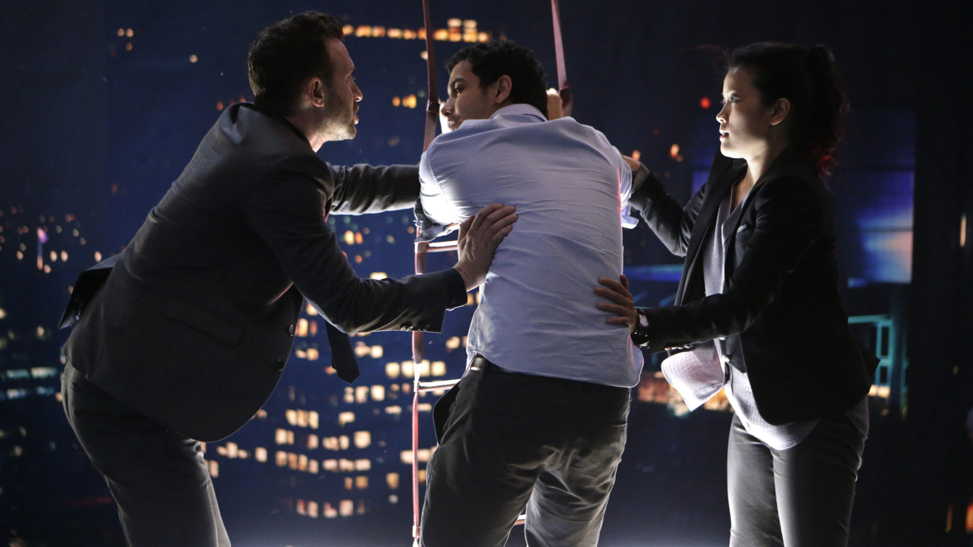 Eddie Kaye Thomas as Toby Curtis, Elyes Gabel as Walter O'Brien, and Jadyn Wong as Happy Quinn