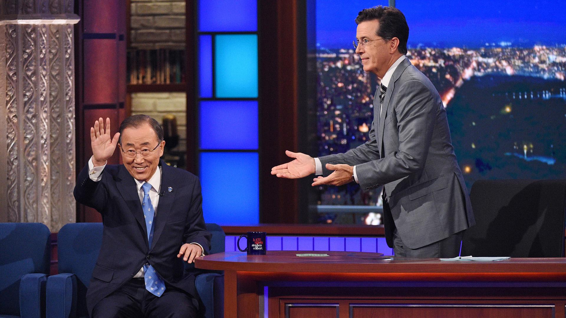 Ban Ki-moon and Stephen Colbert