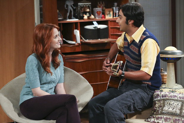 Raj serenades his girlfriend, Emily