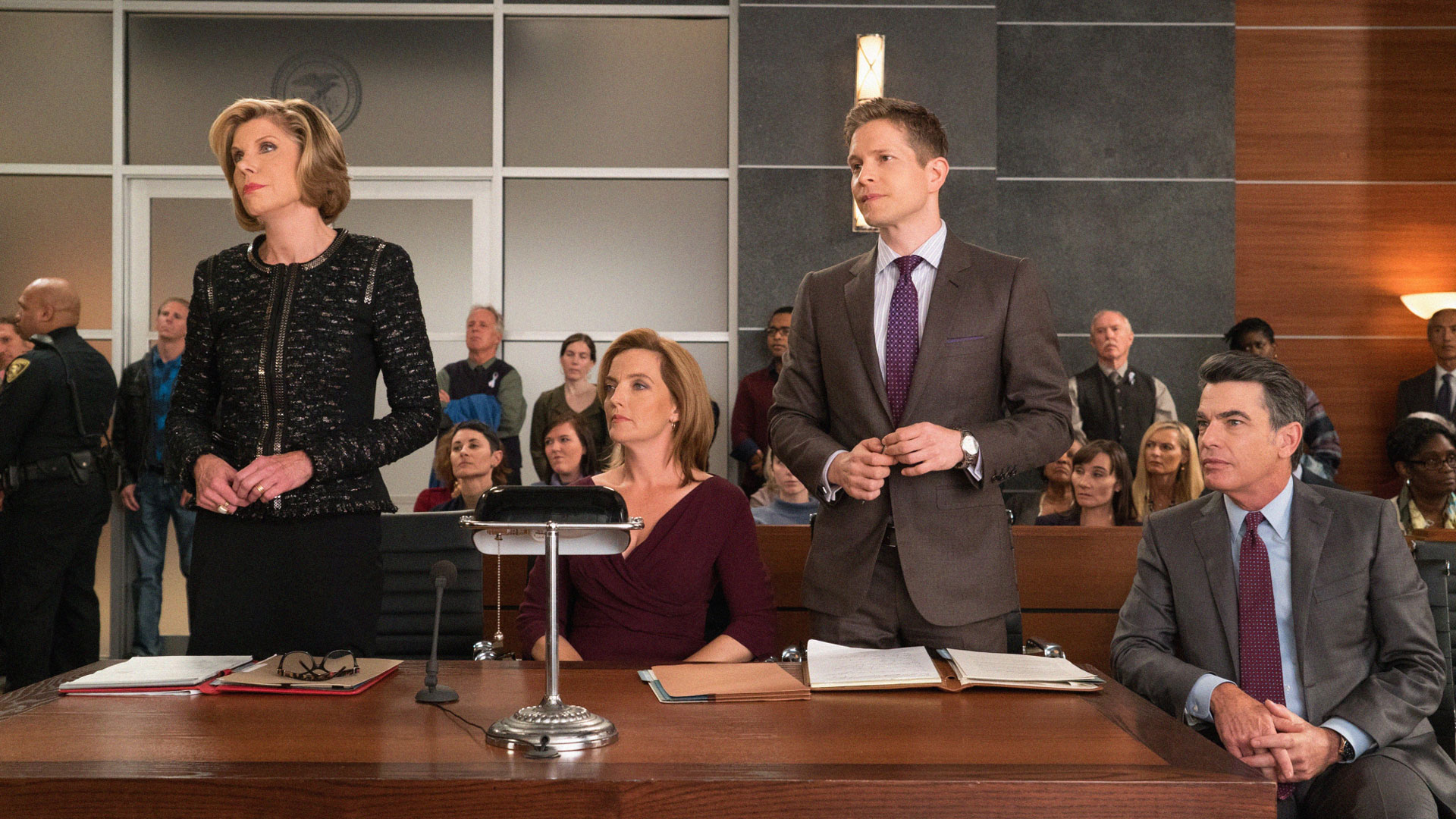 Christine Baranski as Diane Lockhart, Matt Czuchry as Cary Agos, and Peter Gallagher as Ethan Carver